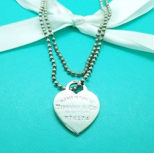"34"" heart tag pendant necklace"